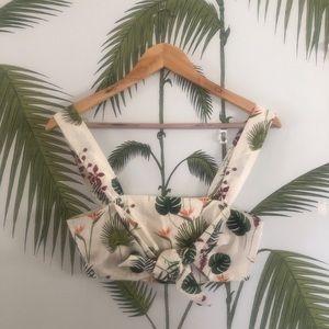 Zara Tropical Palm Crop top